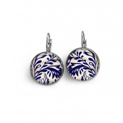 French sleeper style earrings with navy blue and white floral damask theme