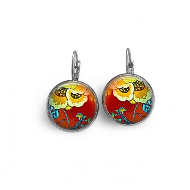 Boucles d'oreilles dormeuses thème floral rouge et jaune