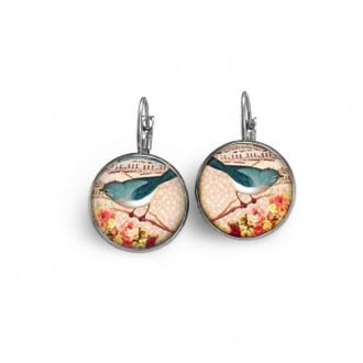 French sleeper earrings: Teal bird on the branch vintage style