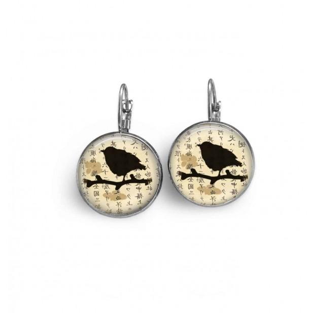 Boucles d'oreilles dormeuses thème oiseau asie beige
