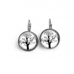 French wire earrings with black and white heart leaf tree theme