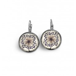 french wire earrings with Agapunthus flower theme