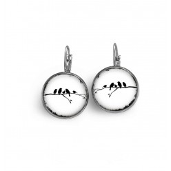 Lever-back earrings with a birds on the branch theme in black and white