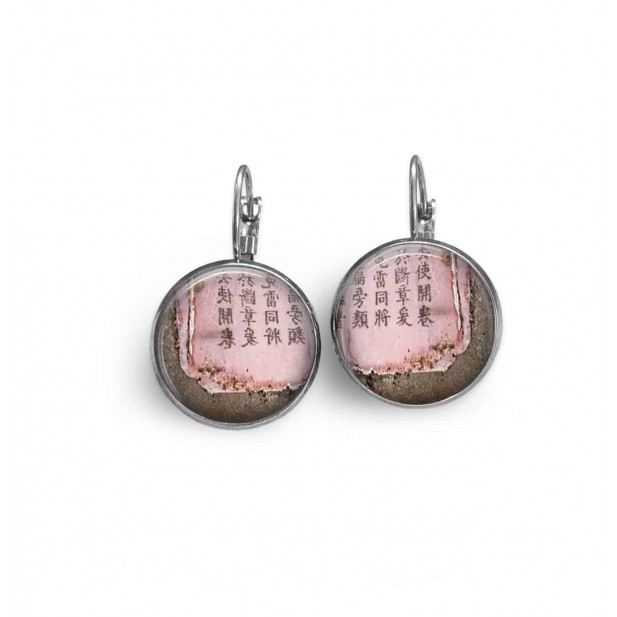 "Lever-back earrings with pink a soft pink and taupe ""Chinese paper"" theme"