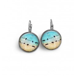 Lever-back earrings with birds on a wire theme and blue sky background