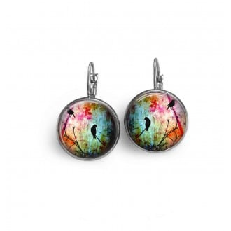 French wire earrings with birds on a branch theme in mulricolour