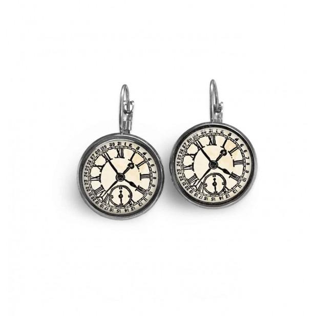Boucles d'oreilles dormeuses thème Horloge noir et blanc