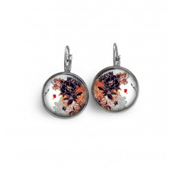 french wire earrings with Japanese leaf theme