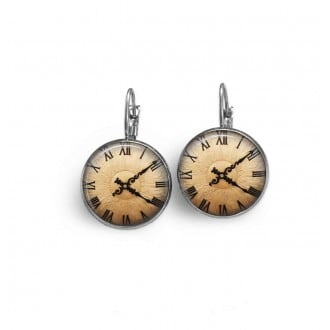 French hook earings with copper coloured clock faces