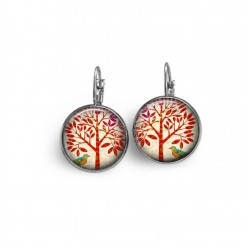 French sleeper earrings: Red tree theme