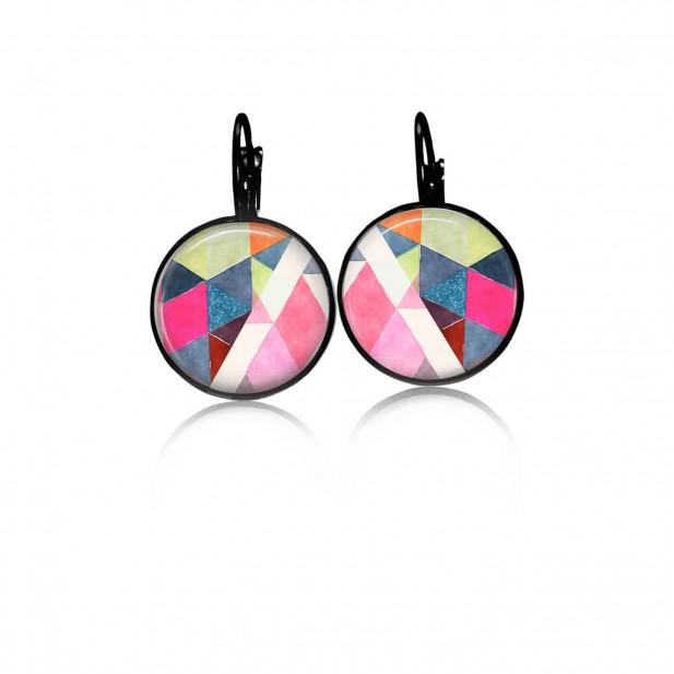 Boucles d'oreilles dormeuses Boho Triangles aquarelles bleues et roses - noir