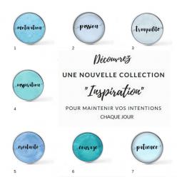 """Bouton cabochon clipsable """"Inspirationnels"""" pour bijoux interchangeables/personnalisables"""