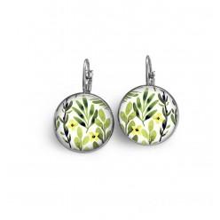 Boucles d'oreilles dormeuses avec un motif herbarium feuilles et fleurs vertes et jaunes