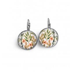 Boucles d'oreilles dormeuses avec un motif herbarium feuilles et fleurs khaki et corail