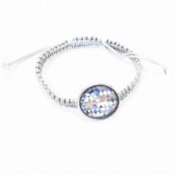 Bracelet personnalisable fin style Shamballa avec cabochons personnalisables / interchangeables ou seul- gris
