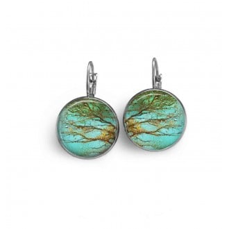 Lever-back earrings with a rust and turquoise branches theme
