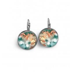 Boucles d'oreilles dormeuses avec un motif abstrait feuillage rouille et turquoise