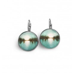 "Lever-back earrings with an abstract ""landscape"" theme in teal, white and brown"