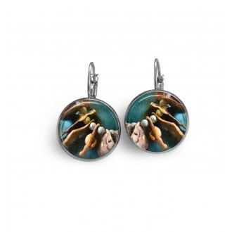 Lever-back earrings with a tribal abstract pattern in brown and turquoise