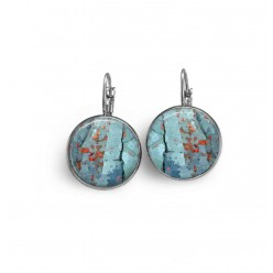 Lever-back earrings with a turquoise abstract pattern with red dots