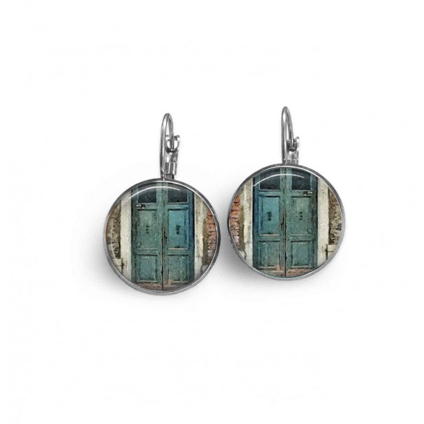 Lever-back earrings with a rustic, old turquoise blue door theme