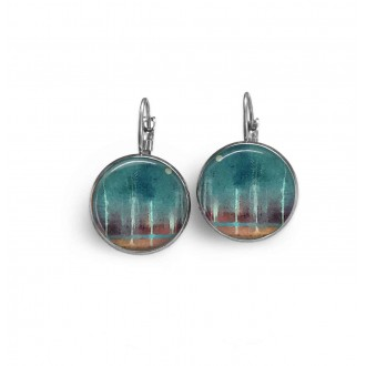 "French wire earrings with an abstract ""forest and moon"" theme in brown and turquoise"