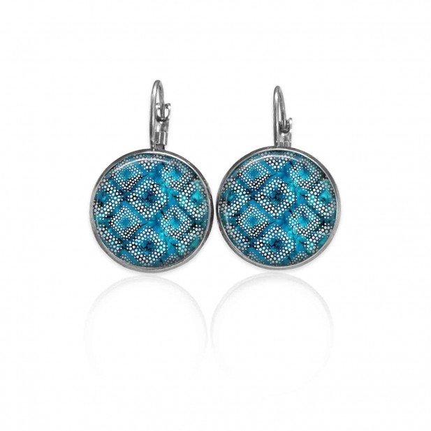 Boucles d'oreilles dormeuses Thème Bleu Batik Turquoise