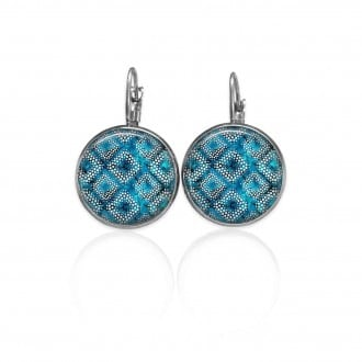 Lever-back earrings with a turquoise batik theme