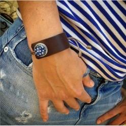 Bracelet personnalisable asymétrique en cuir et cordon - noir, marron et rouge