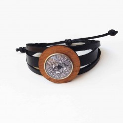 3 strands Leather cuff Bracelet with a teak wood washer