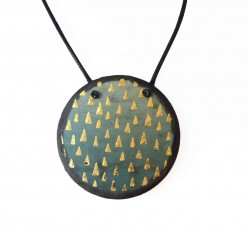 """Slate """"Géodes"""" necklaces with Prussian blue and gold triangles"""
