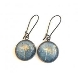 Boucles d'oreilles Fleur de Carotte sauvage en or et fond aquarelle gris-bleu