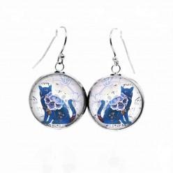 Boucles d'oreilles pendantes chat floral bleu