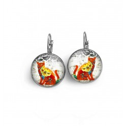 Lever-back earrings with red and yellow floral cat theme