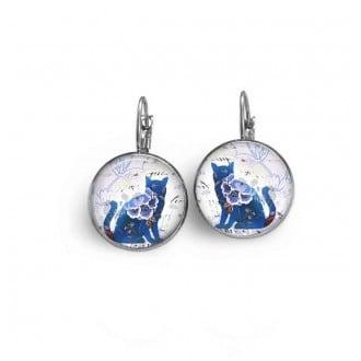 Boucles d'oreilles dormeuse thème chat floral bleu