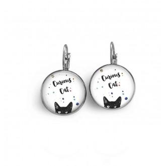 """Boucles d'oreilles dormeuses thème chat """"curious cat"""" (chat curieux"""