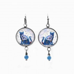 Cat dangle earrings with a floral cat theme in blue