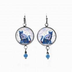 Boucles d'oreilles pendantes thème chat floral bleu