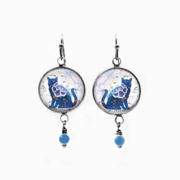 Cat dangle earrings with a floral cat theme in blue and glass bead
