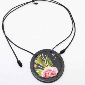 Slate necklace with a boho rose on black background floral theme