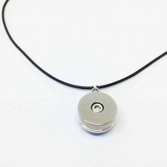 Collier interchangeable avec cordon en simili-cuir noir ou marron