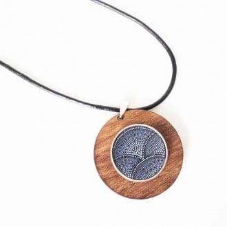 Collier personnalisable / interchangeable pour bouton snap en bois de teck 43mm