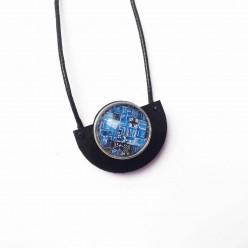 Collier pour boutons interchangeables demi cercle en acrylique noir