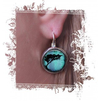 """Boucles d'oreilles dormeuses avec theme """"Arbre acacia"""" bleues turquoises"""