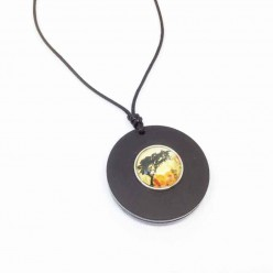 Interchangeable necklace (no bail) in black matt acrylic or teak wood
