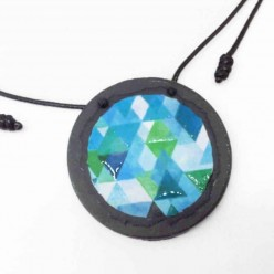 Slate necklace with a watercolor turquoise triangles theme