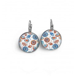 Blue and rust floral theme earrings in lever-back format