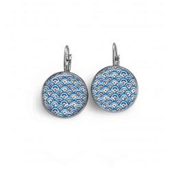 Boucles d'oreilles thème aquarelle japonisant bleu et pointes de rouille format dormeuses