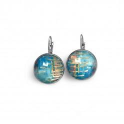 Boucles d'oreilles thème abstrait turquoise et feuille d'or en format dormeuses