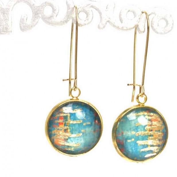 Boucles d'oreilles pendantes avec un thème abstrait turquoise et feuille d'or